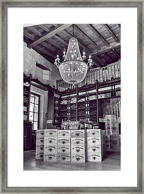 Wine And Chandeliers Black And White Framed Print by Georgia Fowler