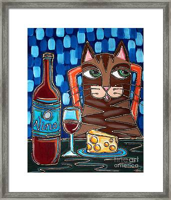 Wine And Cheese Cat Framed Print by Cynthia Snyder