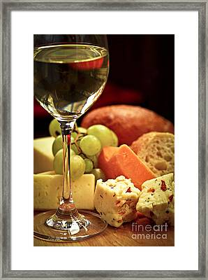 Wine And Cheese Framed Print by Elena Elisseeva