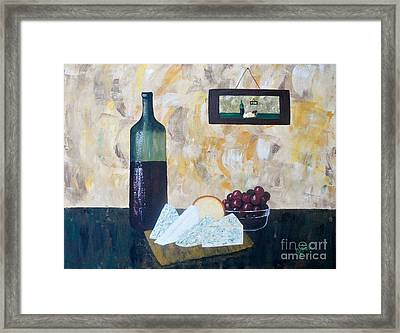 Wine And Cheese Hour Framed Print by JoNeL Art