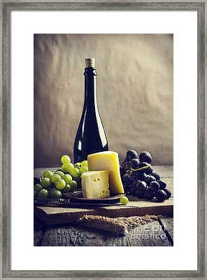 Wine And Cheese Framed Print by Jelena Jovanovic