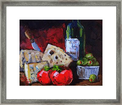 Wine And Cheeses Framed Print by Carole Foret