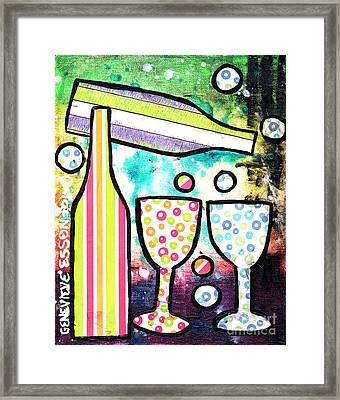 Wine And Glass Collage Abstract Framed Print by Genevieve Esson