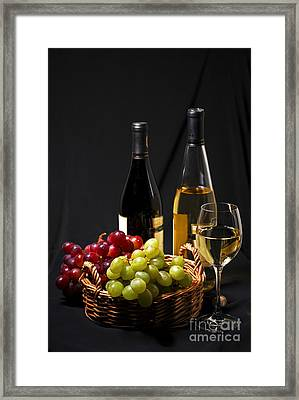Wine And Grapes Framed Print by Elena Elisseeva