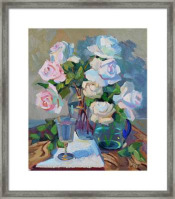 Wine And Roses Framed Print by Diane McClary
