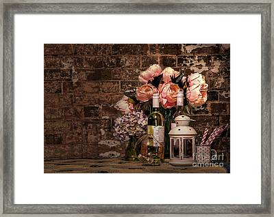 Wine And Roses Framed Print by Kaye Menner