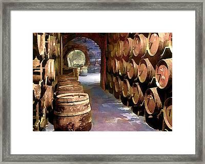 Wine Barrels In The Wine Cellar Framed Print by Elaine Plesser