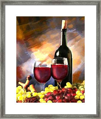 Wine Before And After Framed Print by Elaine Plesser