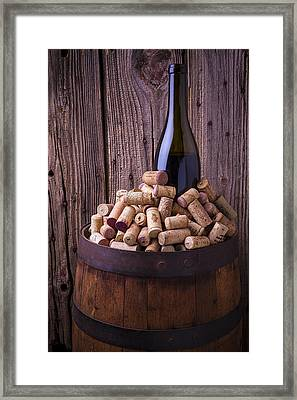 Wine Bottle And Corks Framed Print by Garry Gay