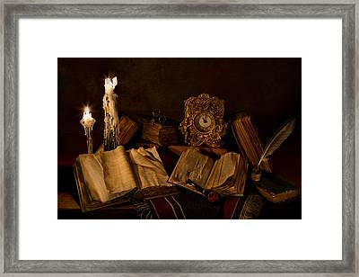 Wine Bottle Candles Books And Pipe Framed Print by Mary Tomaino