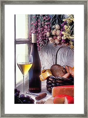 Wine Bottle With Glass In Window Framed Print by Garry Gay