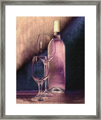 Wine Bottle With Glasses Framed Print by Tom Mc Nemar