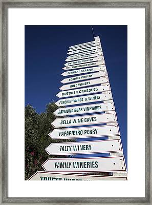 Wine Country Signs Framed Print by Garry Gay