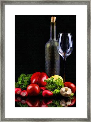 Wine For A Salad Framed Print by Elaine Plesser