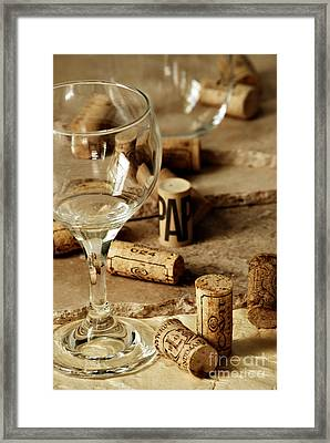 Wine Glass And Corks Framed Print by HD Connelly