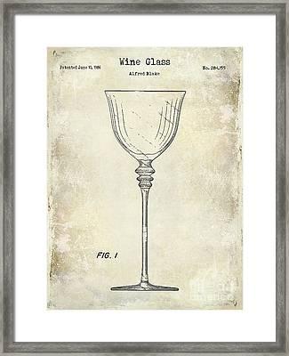 Wine Glass Patent Drawing Framed Print by Jon Neidert