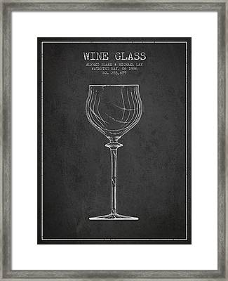Wine Glass Patent From 1986 - Charcoal Framed Print by Aged Pixel