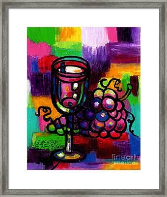 Wine Glass With Grapes Abstract Framed Print by Genevieve Esson