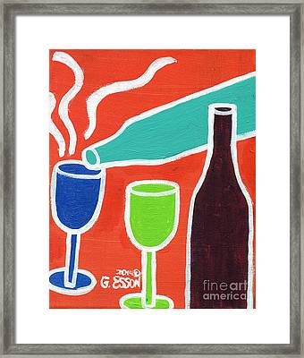 Wine Glasses And Bottles With Orange Background Framed Print by Genevieve Esson