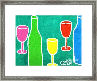 Wine Glasss And Bottles With Green Background Framed Print by Genevieve Esson