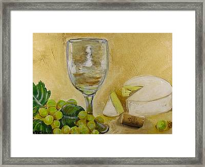 Wine Grapes And Cheese Framed Print by Melissa Torres