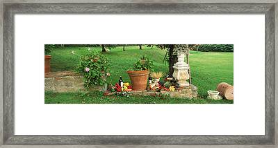 Wine Grapes And Foods Of Chianti Region Framed Print by Panoramic Images