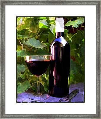 Wine In The Sunset Framed Print by Elaine Plesser