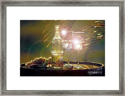Wine On The Barrel Framed Print by Jon Neidert