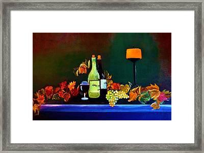 Wine On The Mantel Framed Print by Lisa Kaiser