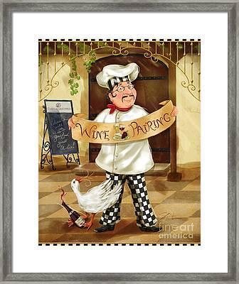 Wine Pairing Chef Framed Print by Shari Warren