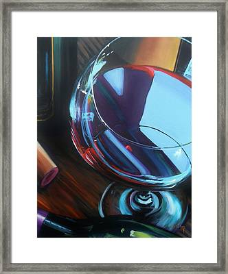 Wine Reflections Framed Print by Donna Tuten