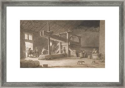 Winepress Of Monsieur Dittyl Framed Print by Lambert Doomer