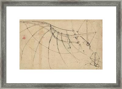 Wing Covered With Cloth And Moved By Means Of Crank Winch Below Right Detail Of Winch Framed Print by Leonardo Da Vinci