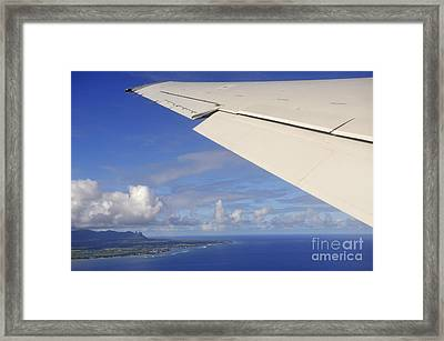 Wing Of Airplane Leaving Framed Print by Sami Sarkis
