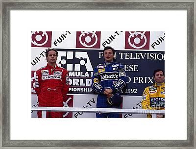 Winners. 1992 Japanese Grand Prix Framed Print by Oleg Konin