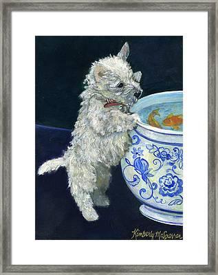 Winnie The Koi Watcher Framed Print by Kimberly McSparran