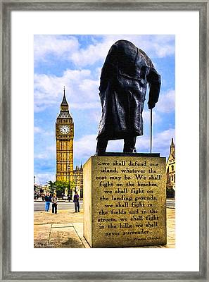 Winston Churchill - Immortal Words - Never Surrender Framed Print by Mark E Tisdale