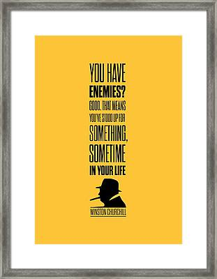 Winston Churchill Inspirational Quotes Poster Framed Print by Lab No 4 - The Quotography Department