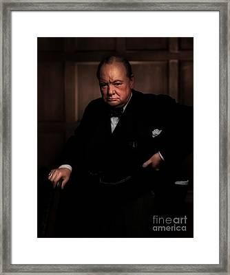 Winston Churchill Framed Print by Doc Braham