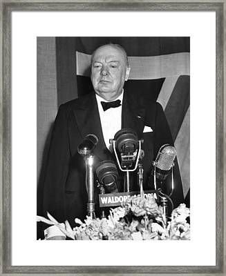 Winston Churchill Speaks Framed Print by Underwood Archives