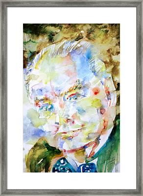 Winston Churchill - Watercolor Portrait Framed Print by Fabrizio Cassetta