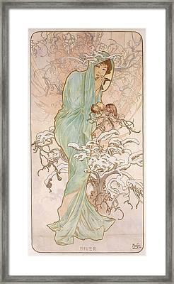 Winter Framed Print by Alphonse Marie Mucha