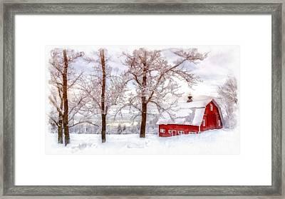 Winter Arrives Watercolor Framed Print by Edward Fielding
