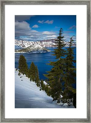 Winter At Crater Lake Framed Print by Inge Johnsson