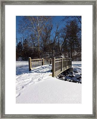 Winter At Creekside Framed Print by Sara  Raber