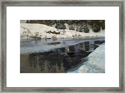 Winter At The River Simoa Framed Print by Frits Thaulow