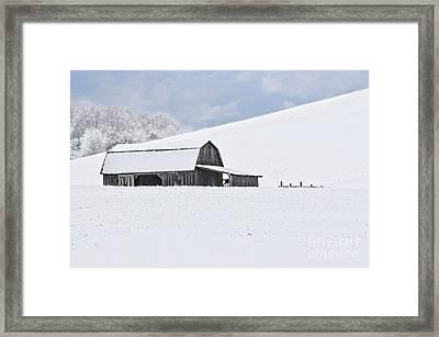 Winter Barn Framed Print by Benanne Stiens