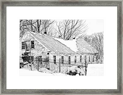 Winter Barn Framed Print by Marcia Lee Jones