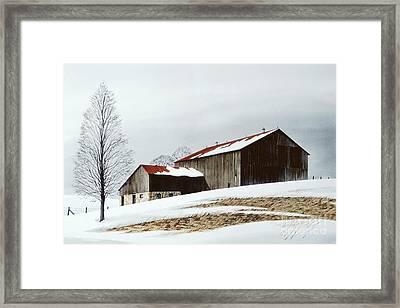 Winter Barn Framed Print by Michael Swanson
