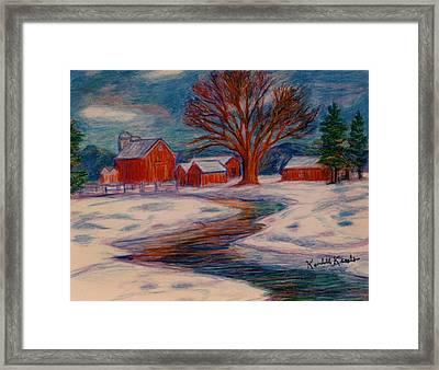 Winter Barn Scene Framed Print by Kendall Kessler